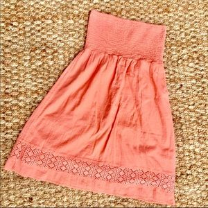 Strapless summer peach pit dress